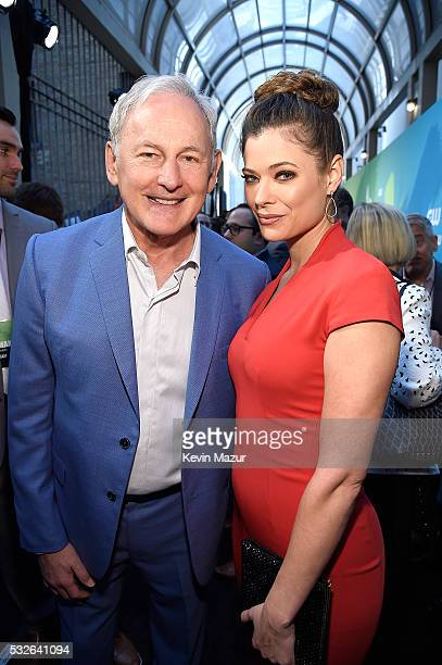 Victor Garber and Peyton List attend The CW Network's 2016 Upfront at The London Hotel on May 19 2016 in New York City