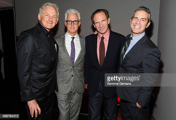 Victor Garber John Slattery Ralph Fiennes and Andy Cohen attend the dinner and auction benefiting Friends in Deed hosted by Andy Cohen at Stephan...