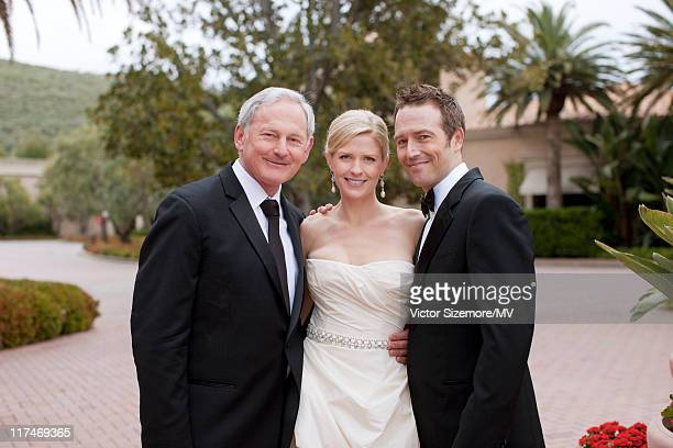 Victor Garber poses with Michael Vartan and Lauren Skaar at their wedding at The Resort at Pelican Hill April 2 2011 in Newport Beach California...