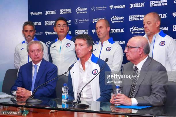 Victor Garces Vice President Robert Dante Siboldi and Alfredo Alvarez during the Presentation as new Head Coach of Cruz Azul at La Noria on September...