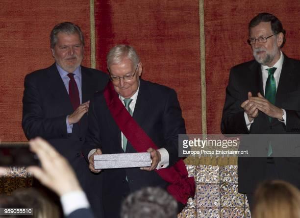 Victor Garcia de la Concha receives from the hands of Mariano Rajoy and Inigo Mendez de Vigo the 'Alfonso X El Sabio' Grand Cross of the Civil Order...