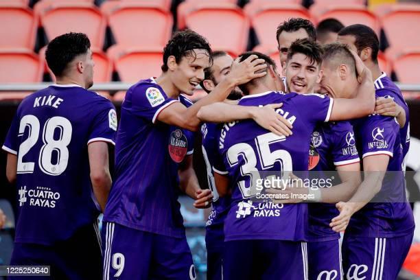 Victor Garcia of Real Valladolid celebrates 11 with Kike Perez of Real Valladolid Enes Unal of Real Valladolid Waldo Rubio of Real Valladolid during...