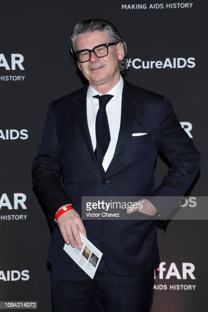 Victor Gisler poses during the amfAR gala dinner at the house of collector and museum patron Eugenio López on February 5 2019 in Mexico City Mexico