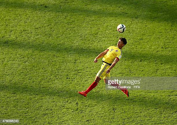 Victor Gutierrez of Colombia heads the ball during the FIFA U20 World Cup New Zealand 2015 Group C match between Colombia and Portugal at Otago...