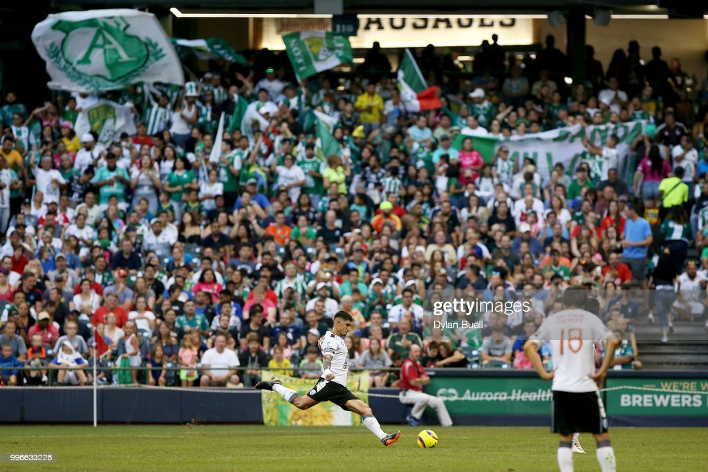 Victor Guzman #5 of CF Pachuca attempts a free kick in the first half against Club Leon at Miller Park on July 11, 2018 in Milwaukee, Wisconsin.