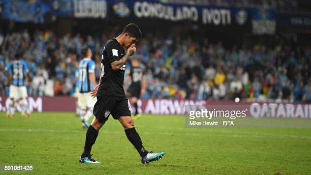 Victor Guzman of CF Pachuca walks off the pitch after recieving a red card during the FIFA Club World Cup UAE 2017 semifinal match between Gremio...