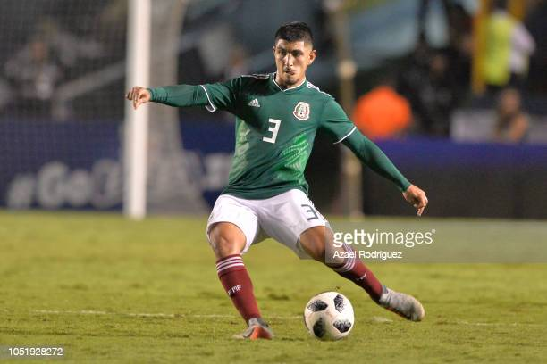 Victor Guzman of Mexico kicks the ball during the international friendly match between Mexico and Costa Rica at Universitario Stadium on October 11...