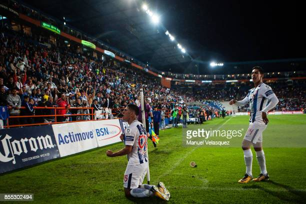 Victor Guzman of Pachuca celebrates after scoring his team's third goal during the 11th round match between Pachuca and Cruz Azul as part of the...