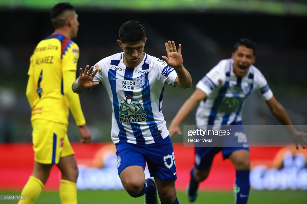 Victor Guzman of Pachuca celebrates after scoring the final equalizer during the second round match between America and Pachuca as part of the Torneo Clausura 2018 Liga MX at Azteca Stadium on January 13, 2018 in Mexico City, Mexico.