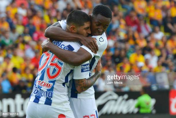 Victor Guzman of Pachuca celebrates after scoring the first goal of his team during the fifth round match between Morelia and Pachuca as part of the...