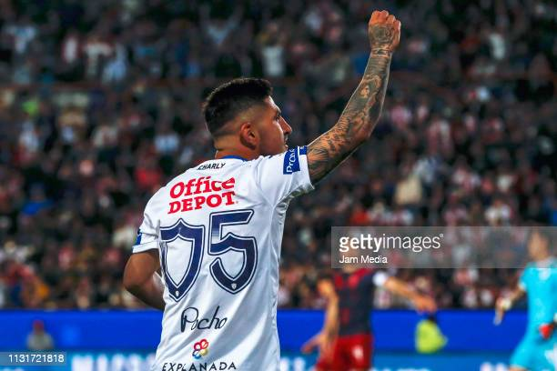 Victor Guzman of Pachuca celebrates after scoring the second goal of his team during the 8th round match between Pachuca and Chivas as part of the...