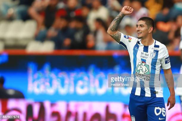 Victor Guzman of Pachuca celebrates after scoring the second goal of his team during the sixth round match between Pachuca and Veracruz as part of...