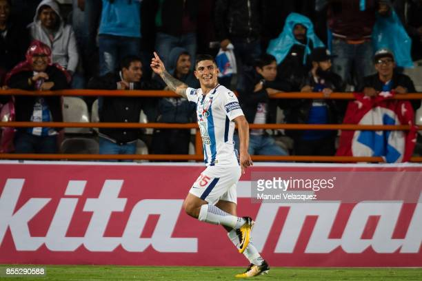Victor Guzman of Pachuca celebrates after scoring the second goal of his team during the 11th round match between Pachuca and Cruz Azul as part of...