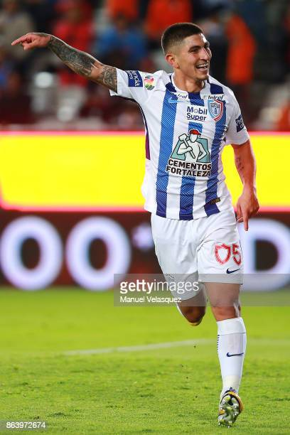 Victor Guzman of Pachuca celebrates after scoring the second goal of his team during the 10th round match between Pachuca and Toluca as part of the...