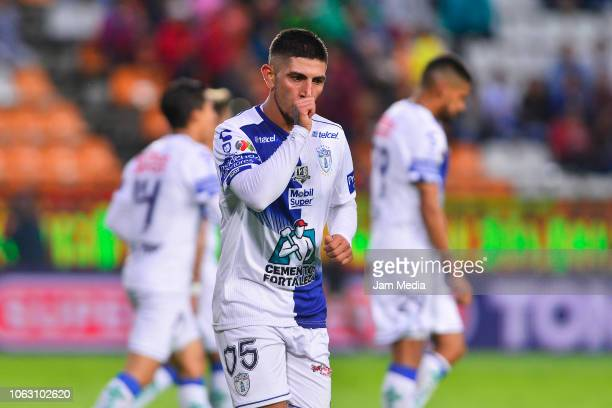 Victor Guzman of Pachuca celebrates after scoring the third goal of his team during a 15th round match between Pachuca and Necaxa as part of Torneo...