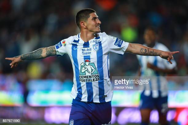 Victor Guzman of Pachuca celebrates after scoring the third goal of his team during the sixth round match between Pachuca and Veracruz as part of the...