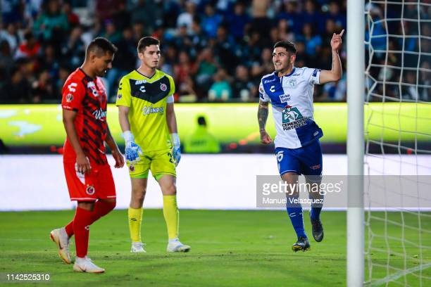 Victor Guzman of Pachuca celebrates the eight scored goal during the 14th round match between Pachuca vs Veracruz as part of the Torneo Clausura 2019...