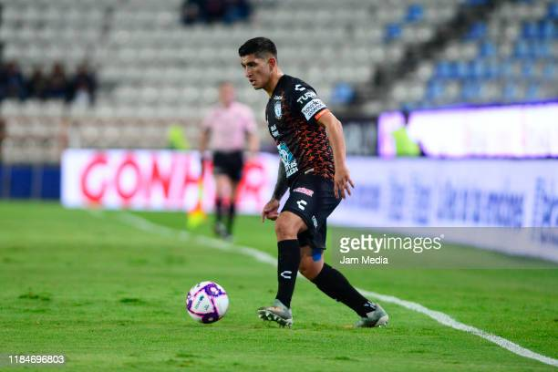 Victor Guzman of Pachuca controls the ball during the 16th round match between Pachuca and Monterrey as part of the Torneo Apertura 2019 Liga MX at...