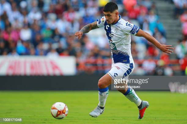 Victor Guzman of Pachuca controls the ball during the 1st round match between Pachuca and Monterrey as part of the Torneo Apertura 2018 Liga MX at...