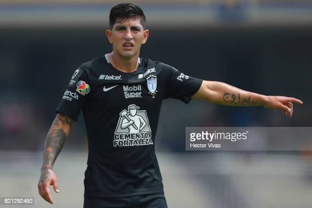 Victor Guzman of Pachuca gestures during the 1st round match between Pumas UNAM and Pachuca as part of the Torneo Apertura 2017 Liga MX at Olimpico...