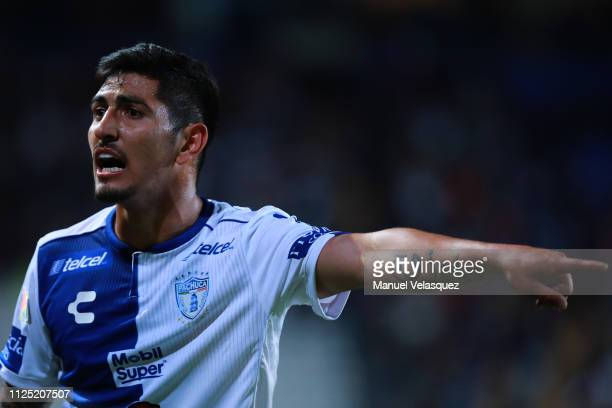 Victor Guzman of Pachuca gestures during the 4th round match between Pachuca and Pumas UNAM as part of the Torneo Clausura 2019 Liga MX at Hidalgo...