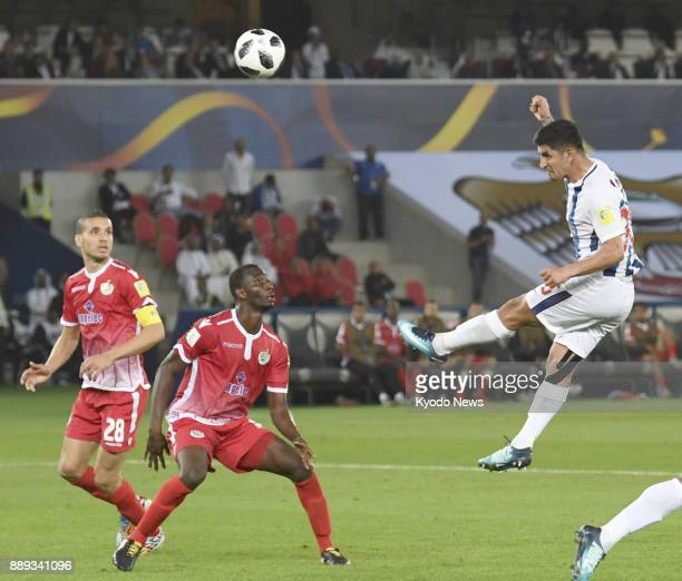 Victor Guzman of Pachuca heads the ball toward goal scoring in the 112th minute of a 10 victory over Wydad Casablanca in the Club World Cup second...