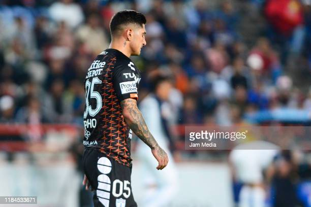 Victor Guzman of Pachuca lament during the 16th round match between Pachuca and Monterrey as part of the Torneo Apertura 2019 Liga MX at Hidalgo...
