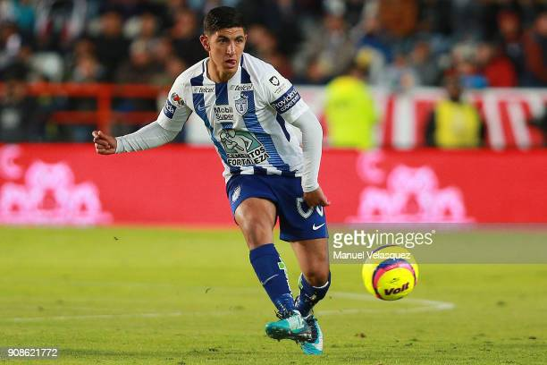 Victor Guzman of Pachuca plays the ball during the 3rd round match between Pachuca and Lobos BUAP as part of the Torneo Clausura 2018 Liga MX at...