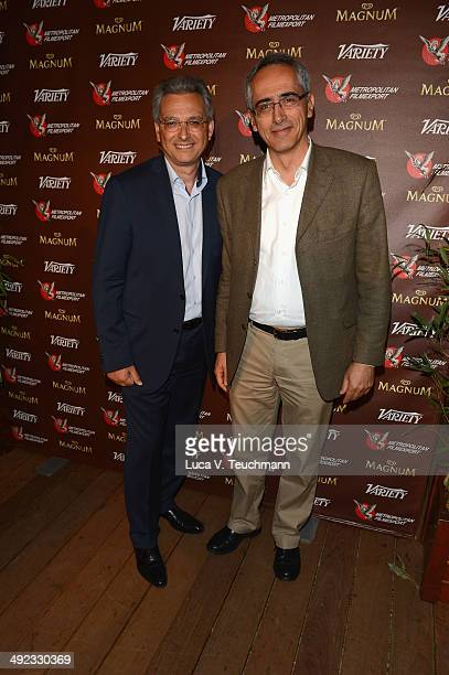 Victor Hadida and Jean Mizrahi attend the Metropolitan Filmexport 35th Anniversary Party at Magnum Beach on May 19 2014 in Cannes France