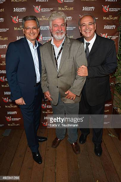 Victor Hadida Antoine de Cazotte and Samuel Hadida attend the Metropolitan Filmexport 35th Anniversary Party at Magnum Beach on May 19 2014 in Cannes...
