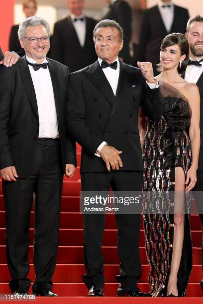 Victor Hadida Sylvester Stallone and Paz Vega attend the screening of Rambo Last Blood during the 72nd annual Cannes Film Festival on May 24 2019 in...