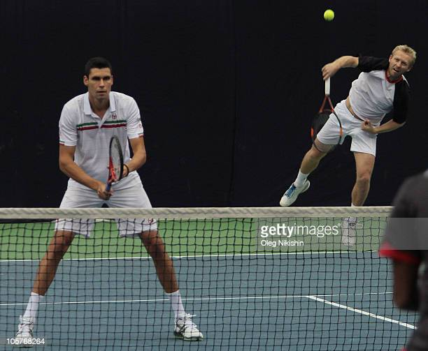 Victor Hanescu of Romania and Friedl Leos of Czech Republic in action during the XXI International Tennis Tournament Kremlin Cup 2010 against Bopanna...