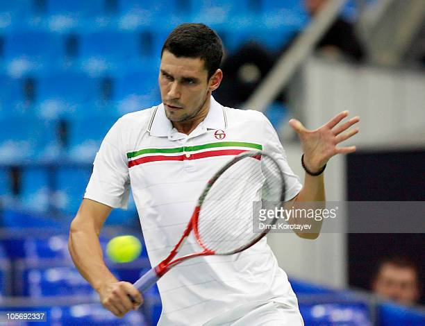Victor Hanescu of Romania in action against Radek Stepanek of the Czech Republic during the XXI International Tennis Tournament Kremlin Cup 2010 at...