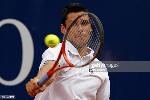 Victor Hanescu of Romania returns the ball to Jeremy Chardy of France during the final match of the MercedesCup at the TC Weissenhof on July 19 2009...