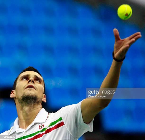 Victor Hanescu of Romania serves against Radek Stepanek of the Czech Republic during the XXI International Tennis Tournament Kremlin Cup 2010 at the...