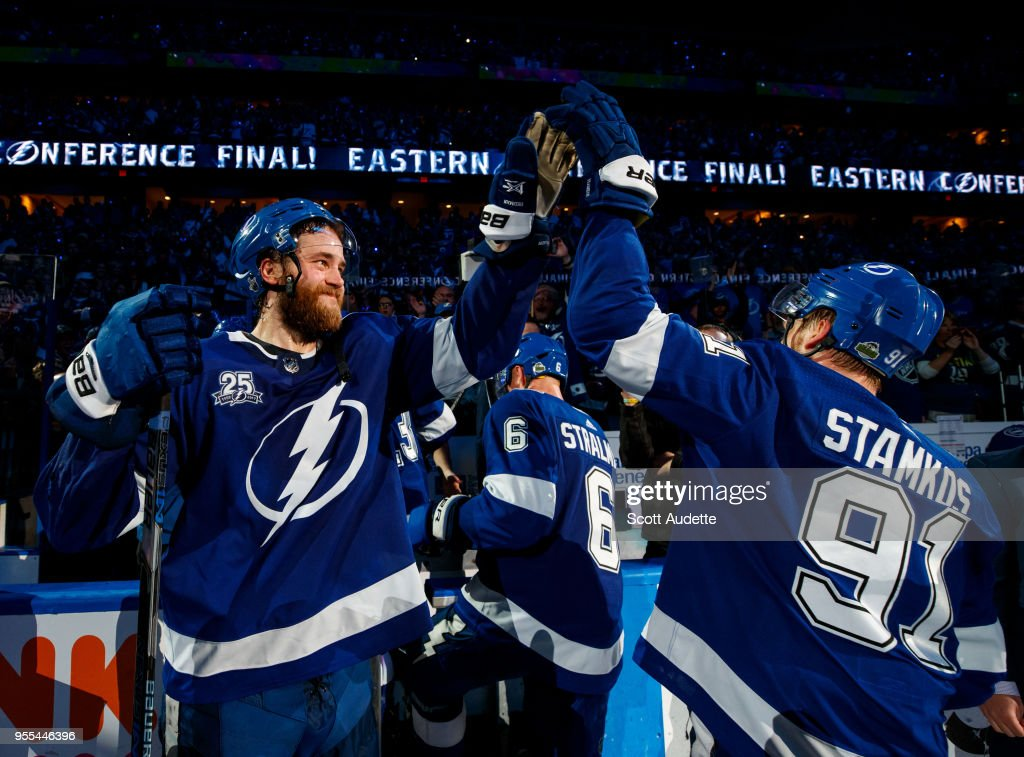 Victor Hedman #77 and Steven Stamkos #91 of the Tampa Bay Lightning celebrates the win against the Boston Bruins during Game Five of the Eastern Conference Second Round during the 2018 NHL Stanley Cup Playoffs at Amalie Arena on May 6, 2018 in Tampa, Florida.