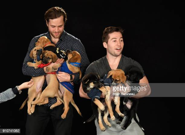 Victor Hedman and Tyler Johnson of the Tampa Bay Lightning attend the Players Puppies event at the Grand Hyatt Hotel on January 26 2018 in Tampa...