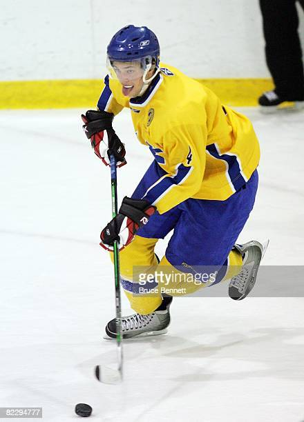 Victor Hedman of Team Sweden skates against Team USA at the USA Hockey National Junior Evaluation Camp on August 9, 2008 at the Olympic Center in...