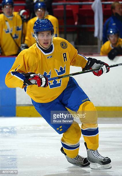 Victor Hedman of Team Sweden skates against Team USA at the USA Hockey National Junior Evaluation Camp on August 8, 2008 at the Olympic Center in...