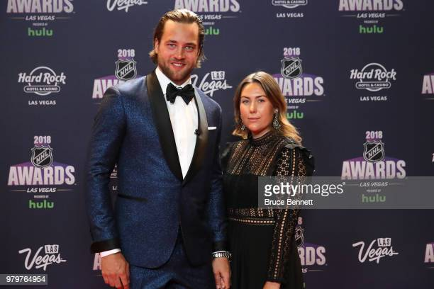 Victor Hedman of the Tampa Bay Lightning and guest arrive at the 2018 NHL Awards presented by Hulu at the Hard Rock Hotel Casino on June 20 2018 in...