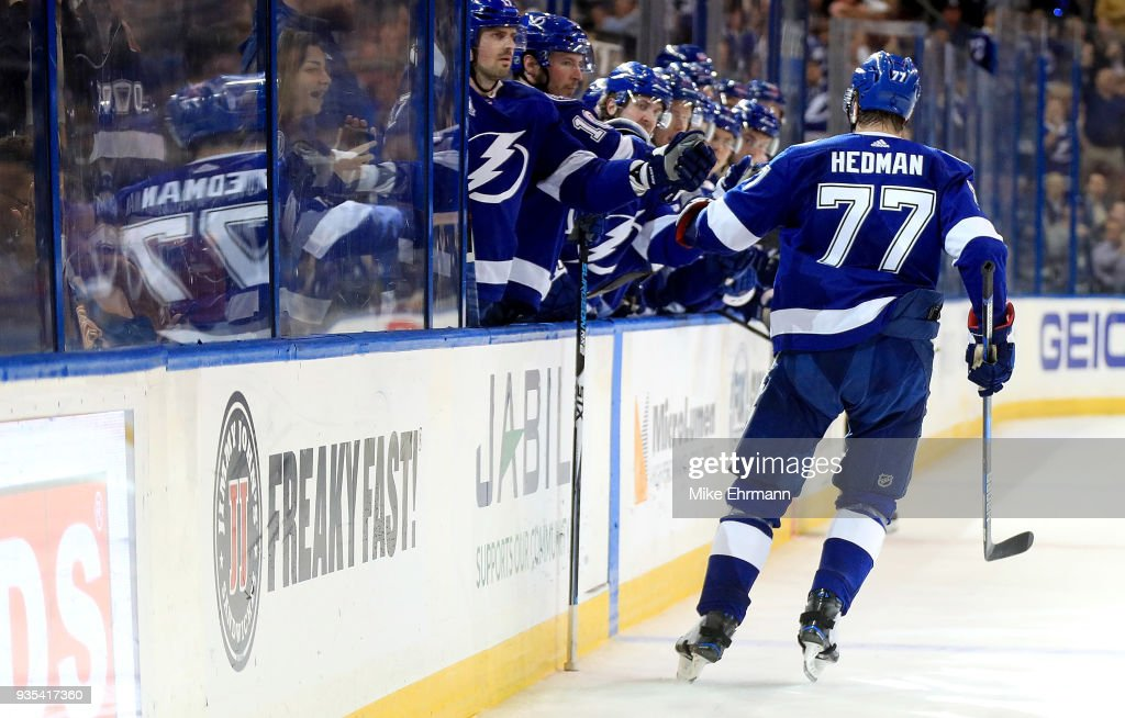 Victor Hedman #77 of the Tampa Bay Lightning celebrates a goal during a game against the Toronto Maple Leafs at Amalie Arena on March 20, 2018 in Tampa, Florida.