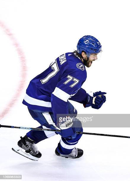 Victor Hedman of the Tampa Bay Lightning celebrates after scoring the game-winning goal during the second overtime period to give his team the 3-2...