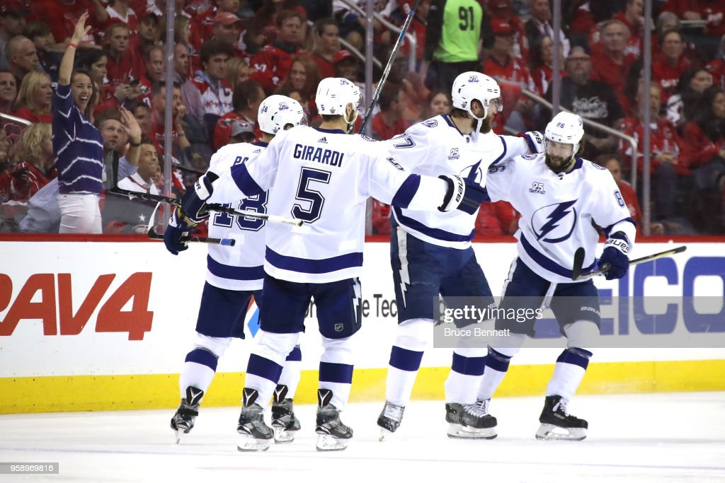 Victor Hedman #77 of the Tampa Bay Lightning celebrates with his teammates after scoring a goal against Braden Holtby #70 of the Washington Capitals during the third period in Game Three of the Eastern Conference Finals during the 2018 NHL Stanley Cup Playoffs at Capital One Arena on May 15, 2018 in Washington, DC.