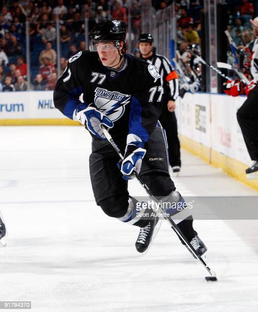 Victor Hedman of the Tampa Bay Lightning controls the puck against the New Jersey Devils at the St Pete Times Forum on October 8 2009 in Tampa Florida