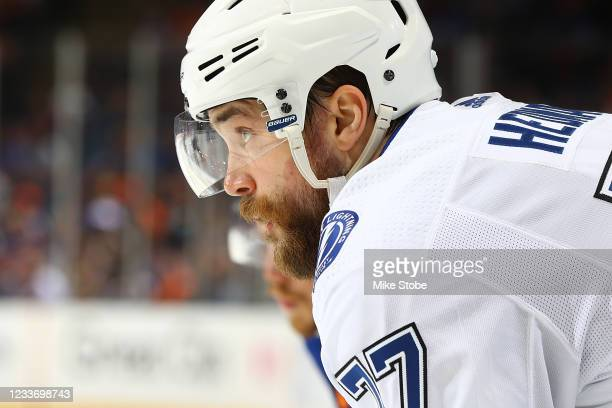 Victor Hedman of the Tampa Bay Lightning in action against the New York Islanders in Game Six of the Stanley Cup Semifinals of the 2021 Stanley Cup...