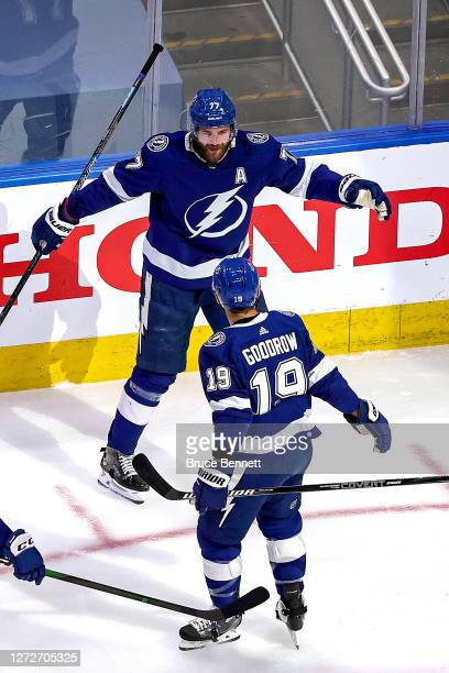 Victor Hedman of the Tampa Bay Lightning is congratulated by Barclay Goodrow after scoring a goal against the New York Islanders during the second...