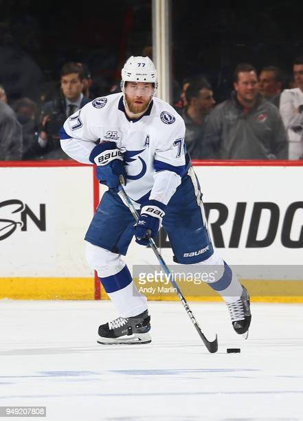 Victor Hedman of the Tampa Bay Lightning plays the puck against the New Jersey Devils in Game Four of the Eastern Conference First Round during the...