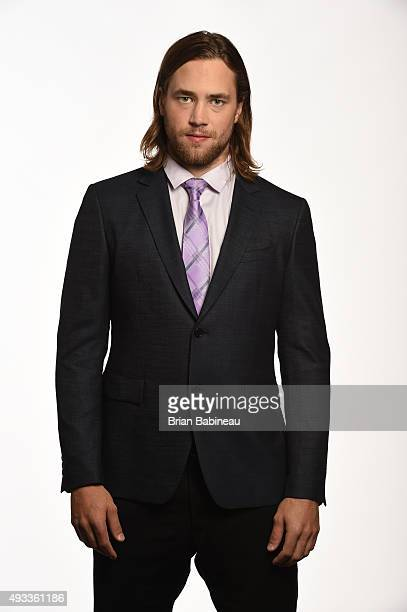 Victor Hedman of the Tampa Bay Lightning poses for pictures at the NHL Player Media Tour at the Ritz Carlton on September 9 2015 in Toronto Ontario