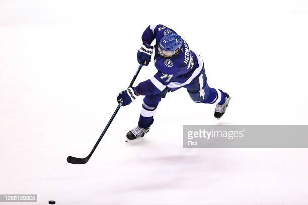 Victor Hedman of the Tampa Bay Lightning scores a goal against the Boston Bruins at 18:46 during the third period in Game One of the Eastern...