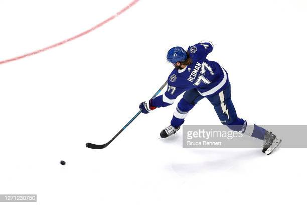 Victor Hedman of the Tampa Bay Lightning scores a goal against the New York Islanders during the first period in Game One of the Eastern Conference...